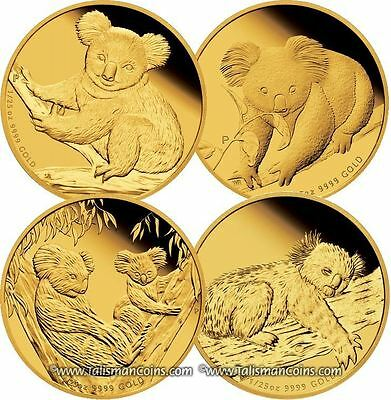 Australia 2009, 2010, 2011, 2012 Koala 1/25 Oz Gold Discount 4 Pack Proof Set