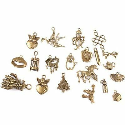 40pcs Assorted Vintage Antique Bronze Mixed Charms Alloy Pendants Findings BS