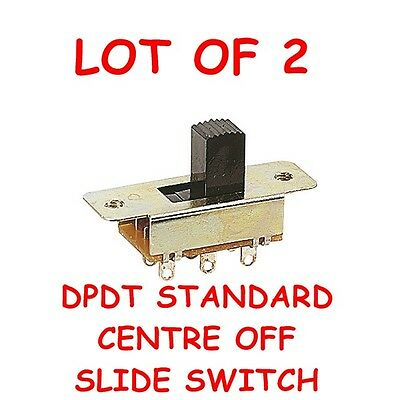 LOT OF 2 DPDT C/O STANDARD SLIDE SWITCH NEW Electronic Components