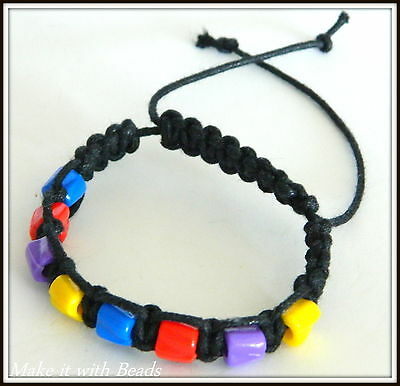 Mixed Beads Black Cord Braided Friendship Bracelet Making Kit + Instructions