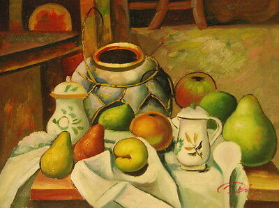 """12""""x16"""" Canvas Wall Art Oil Painting Hand Painted -  Pears and Apples"""