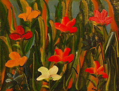 """12""""x16"""" Canvas Wall Art Oil Painting Hand Painted -  Colorful Flowers"""