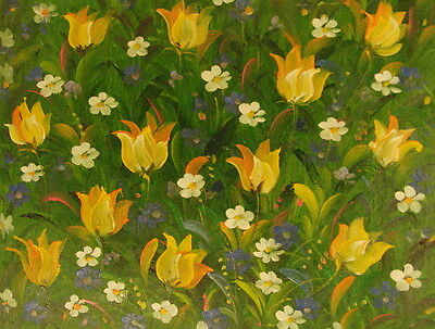 """12""""x16"""" Canvas Wall Art Oil Painting Hand Painted -  Field of Flowers"""