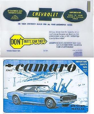 1967 67  Camaro Owner's  Manual And Cover