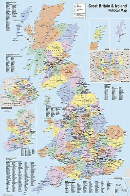 Map Of Great Britain Uk England Scotland Wales & N Ireland Poster  Pp30197