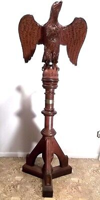 1881 ANTIQUE CARVED EAGLE LECTERN PODIUM STAND Patriotic Xmas Gift Present Bulb