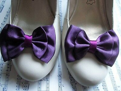 PAIR AUBERGINE PURPLE SATIN DOUBLE BOW SHOE CLIPS VINTAGE STYLE GLAMOUR 40s 50s