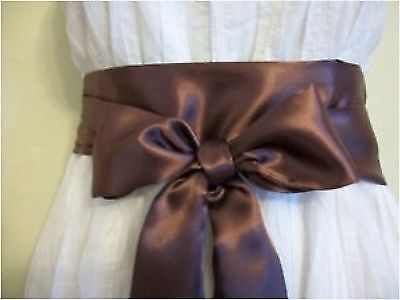 "3.5x100"" BROWN SATIN SASH BELT SELF TIE BOW FOR EVENING PARTY PROM FANCY DRESS"