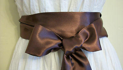 "2.5x60"" BROWN SATIN SASH BELT SELF TIE BOW 4 PARTY BRIDESMAID PROM CRUISE DRESS"