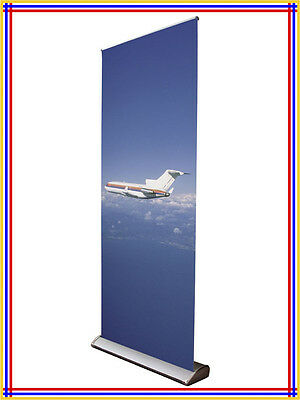 "Water Drop Luxury Retractable Banner Stand,W34"" x H80"", Silver Color R700"