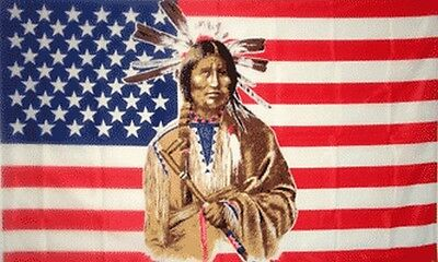 Indian Brave US Flag 3x5 ft USA United States America Native American Peace Pipe