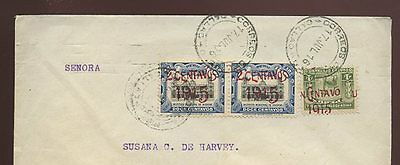 PERU 1916 SURCHARGE INVERTED ERROR on COMMERCIAL COVER INTERNAL...1c on 4c LLAMA