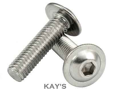 M4, M5, M6, M8mm FLANGED BUTTON HEAD SCREWS ALLEN KEY BOLTS A2 STAINLESS STEEL