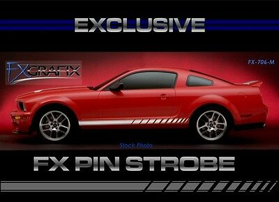 2005 - 2009 Ford Mustang Strobe With Pin Side Rocker Stripe 3M Quality Stripes