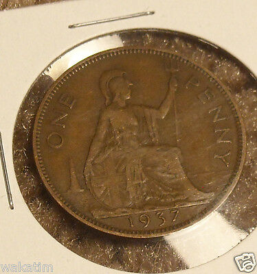 Great Britain One 1 Penny World Foreign Coin 1937