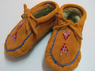 Native American  Beaded Moccasins, 5 Inches, Toddlers, Unisex, Colorful