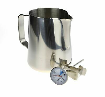 NEW 400ml ESPRESSO COFFEE SET - Stainless Steel Jug & Milk Frothing Thermometer