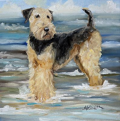 MARY SPARROW  Airedale Terrier Dog Art PRINT Beach Water Sumer Ocean