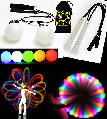 Pro LED Glow Poi Sets - Light up Practice Glow Poi Spinning Sets!