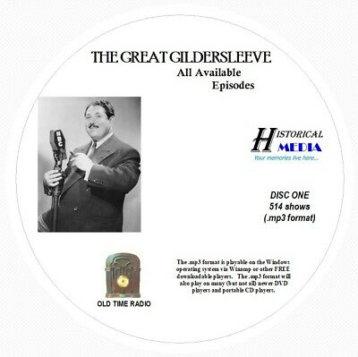 THE GREAT GILDERSLEEVE - 514 Shows Old Time Radio In MP3 Format OTR On 6 CDs