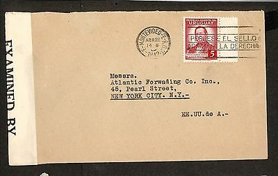 PH4867 1942 Military Postal History Cover WWII Uruguay to United States