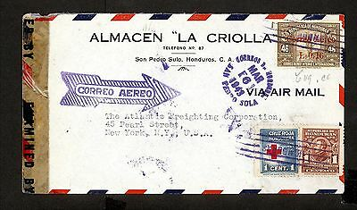 PH4871 1943 Military Postal History Cover WWII Honduras to United States