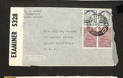PH4873 1944 Military Postal History Cover WWII Brazil to United States