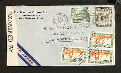 PH4887 1942 Military Postal History Cover WWII Guatemala to United States