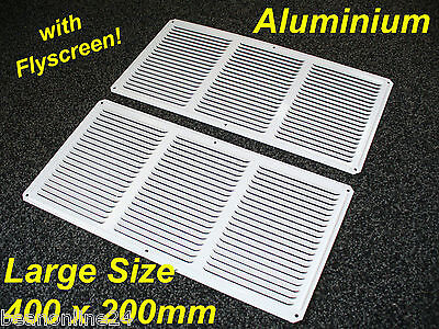 2 pack Aluminium Air Vent 400 x 200mm White with Flyscreen - eave ventilation