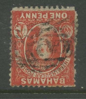 BAHAMAS QV 1863 PERF 12 1/2 1d INVERTED WATERMARK FINE USED cv £75+
