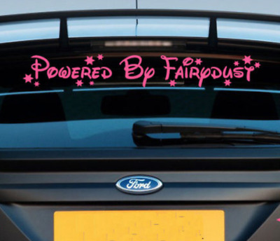 Powered by fairydust car sticker decal vinyl car vehicle girly pink c4