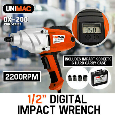 "UNIMAC DX-200 1/2"" 240W Digital Impact Wrench Adjustable LCD Torque Display"