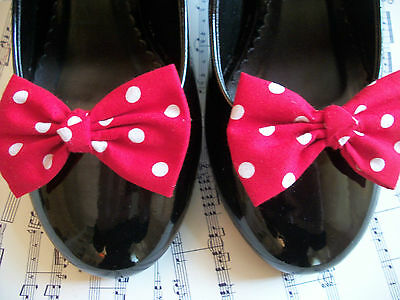 PAIR RED WHITE POLKA DOT SPOT COTTON SHOE CLIPS RETRO BOWS 40s 50s VINTAGE STYLE
