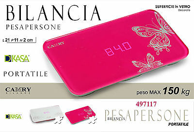 Bilancia pesapersone digitale portatile in vetro decorato, cm21*11*2; max kg 150