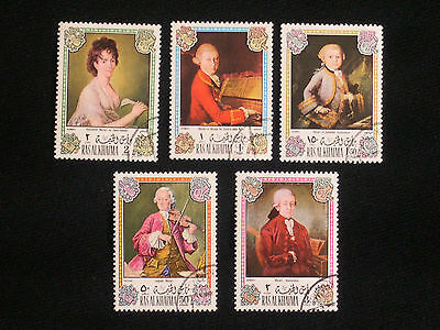 Ras Al Khaima Mozart Airmail Stamp Collection 5 Stamps