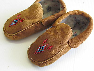 Native American Home Tanned Moose Hide- Beaded Moccasins,warm, 8 Inches Long Wow