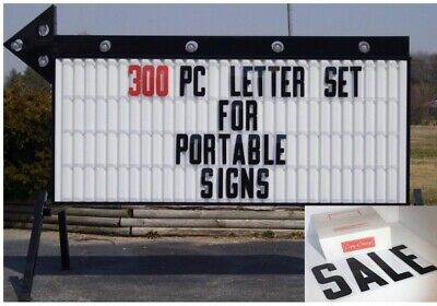 "New 8"" Plastic Outdoor Readerboard Marquee Sign Letters 8"" ON 8 7/8"" 300 Count"