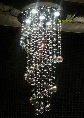 Modern Crystal Pendant Lamp Ceiling Light Spiral Lighting Rain Drop Chandelier