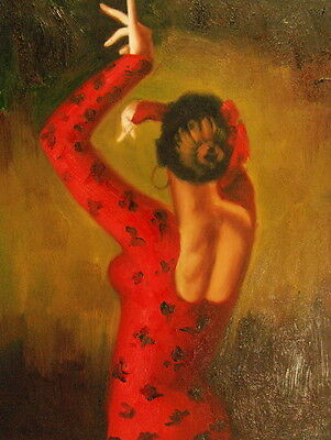 """12""""x16"""" Canvas Wall Art Oil Painting Hand Painted -  Woman with Hands Posed"""