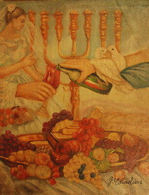 """12""""x16"""" Canvas Wall Art Oil Painting Hand Painted - Candelabra Feast with Doves"""
