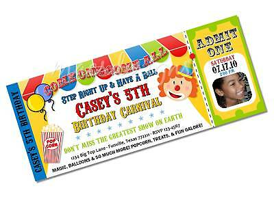 Circus Carnival Clown Birthday Party Invitations Favors