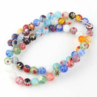 2strings Hot Sale Mixed Colorful Round Charms Loose Lampwork Spacer Beads LC
