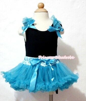 Newborn Baby Turquoise Blue Pettiskirt Skirt Black Top Blue Shoulder & Bow 3-12M