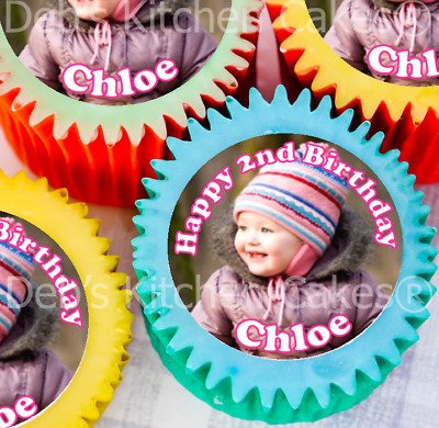 Photo Cupcakes - Large Size - 5.5cm x 12 - Edible Icing - PRECUT! - Your Photo