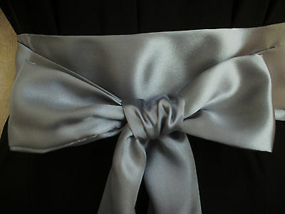"2.5x85"" DARK SILVER GREY SATIN SASH BELT BOW UPDATE PARTY DRESS SKIRT TROUSERS"