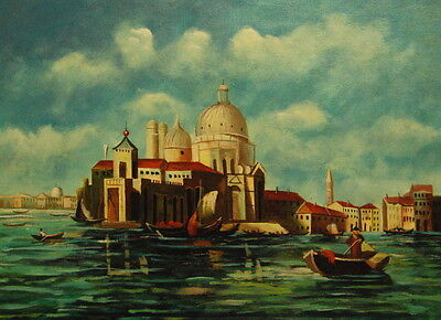 """12""""x16"""" Canvas Wall Art Oil Painting Hand Painted-Venice Waterways"""