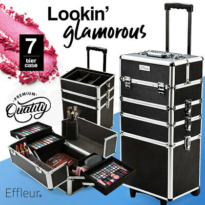 7 in 1 Portable Makeup Case Cosmetics Beauty Black Organiser Trolley Bag Travel