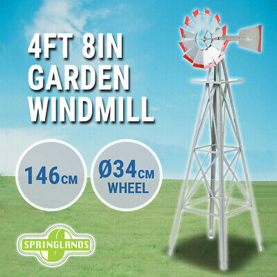 Garden Windmill 140cm Metal, 4 FT 8 IN Decorative Ornamental, Outdoor Wind Mill