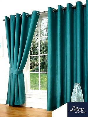 """90"""" x 90"""" TEAL FAUX SILK CURTAINS EYELET / RING TOP FULLY LINED INC TIEBACKS"""