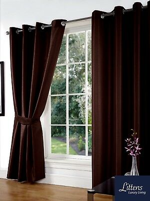 """66"""" x 90"""" BROWN FAUX SILK CURTAINS EYELET / RING TOP FULLY LINED INC TIEBACKS"""